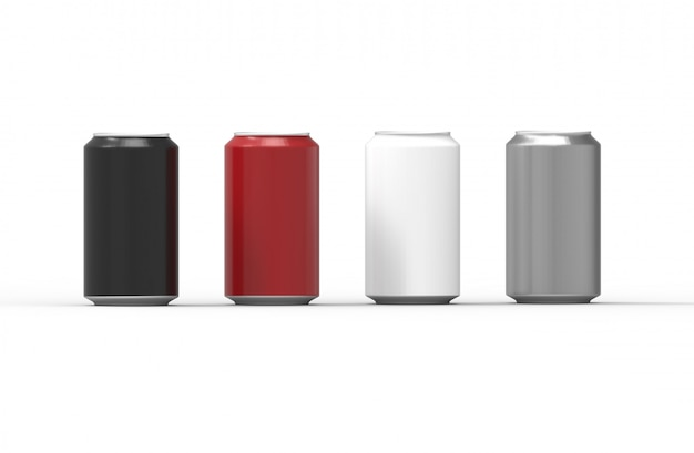 Latas de alumínio de cor isoladas no fundo branco Foto Premium