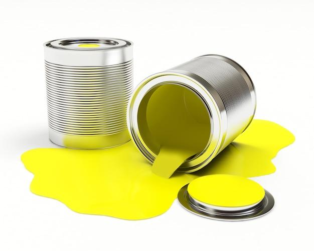 Latas de metal com tinta amarela derramada, isoladas no fundo branco. ilustração 3d Foto Premium