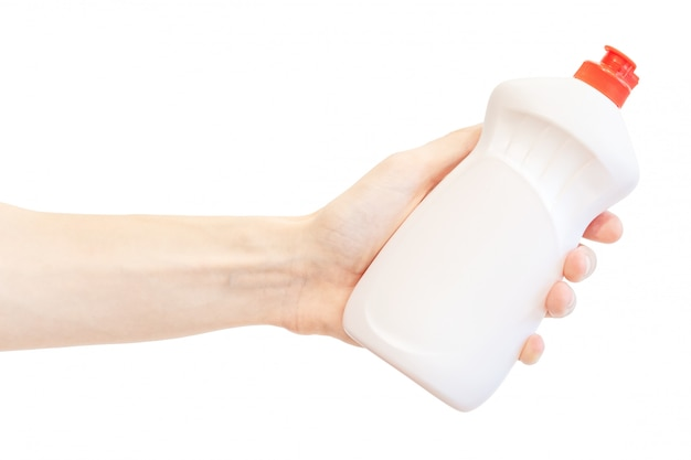 Lavar a garrafa de plástico líquido na mão dos homens isolado no branco Foto Premium