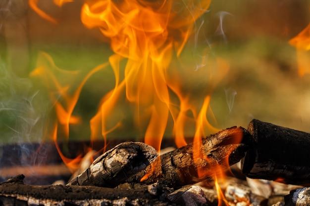 Lenha na grelha queima fogo brilhante Foto Premium