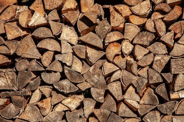 Lenha, para, lenha, fundo, de, secos, lenha cortada, logs, em, um, pilha Foto Premium