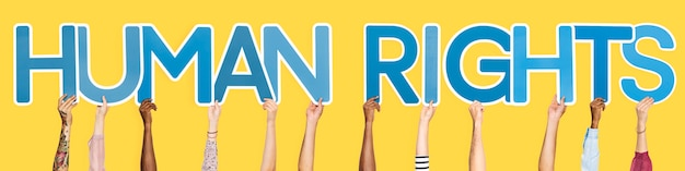 Letras azuis, formando a palavra direitos humanos Foto gratuita