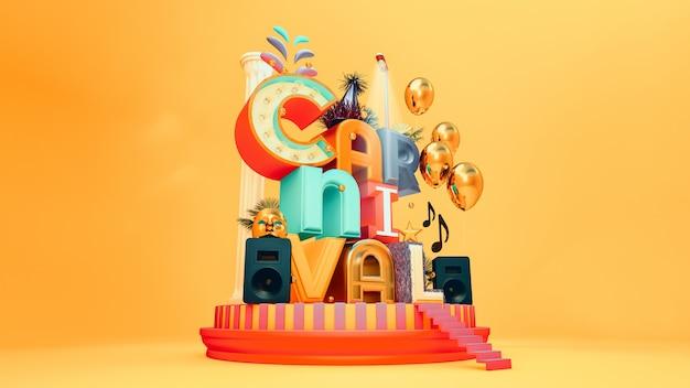Letras de festa de carnaval Foto Premium