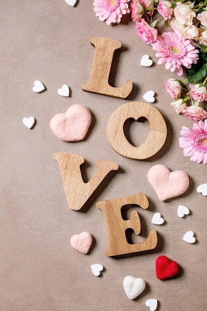 Letras de madeira amor Foto Premium
