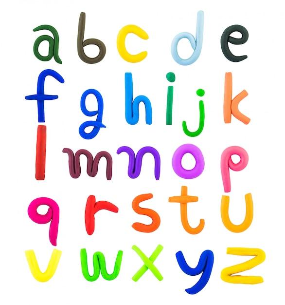 Letras inglesas, argila no fundo branco Foto Premium