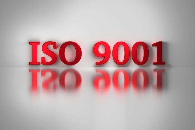 Letras vermelhas do padrão de qualidade iso 9001 para um sistema de gerenciamento de qualidade refletido na superfície branca. Foto Premium