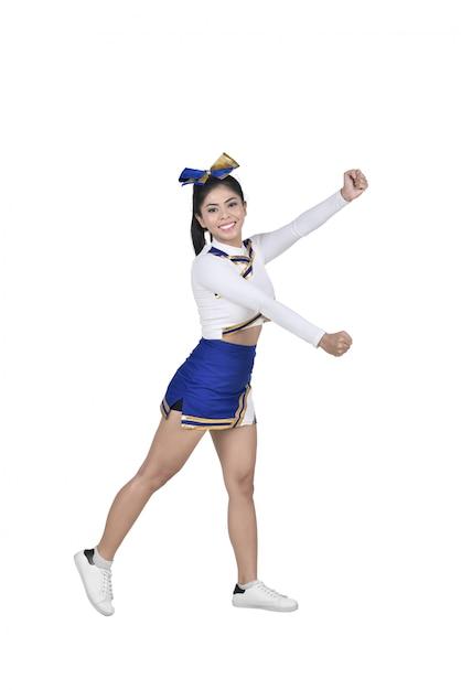 Líder de torcida asiática nova no terno azul e branco Foto Premium