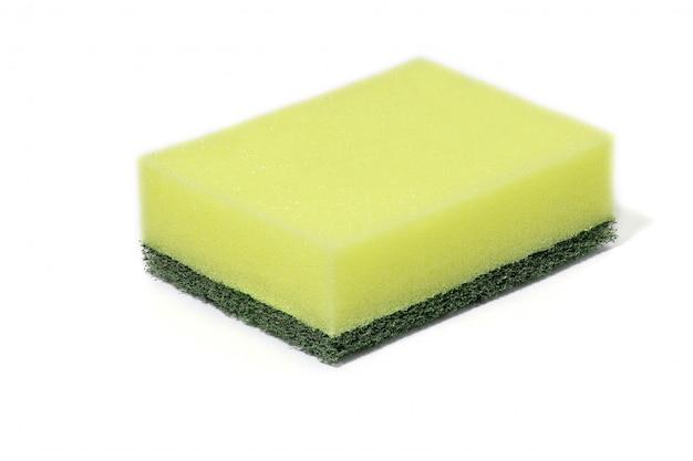 Limpadores de lã de fibras de nylon verde, detergentes, esponja de limpeza doméstica para limpeza Foto Premium