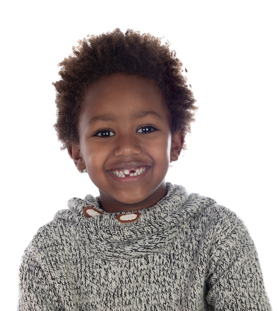 Linda criança afro-americana sem dentes Foto Premium