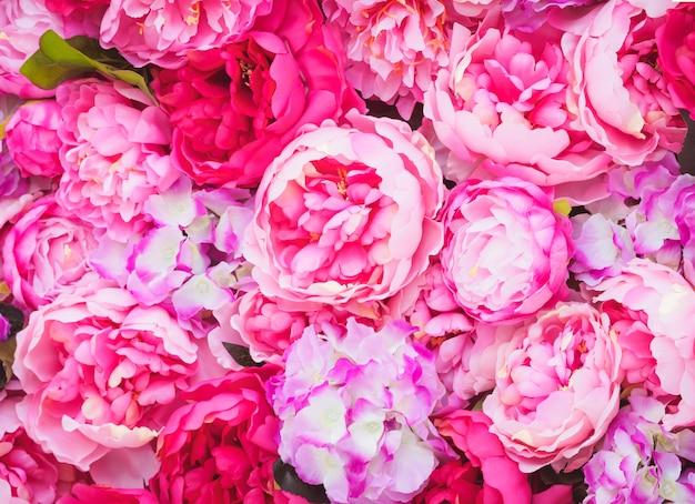 Linda de peônias rosa. flores cor de rosa. decorações de festa de casamento Foto Premium