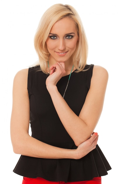 Linda mulher caucasiana com maquiagem Foto gratuita