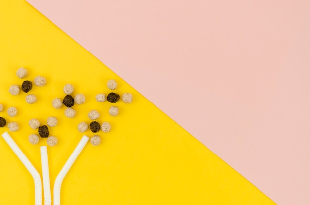 Lindas flores abstratas feitas com cereais e canudos Foto gratuita