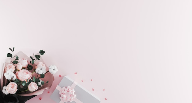 Lindo buquê moderno de peônias com caixa de presente branca com fita rosa sobre fundo rosa claro. Foto Premium