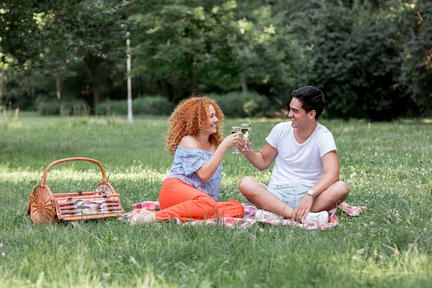 Lindo casal brindando enquanto está sentado em um cobertor Foto gratuita
