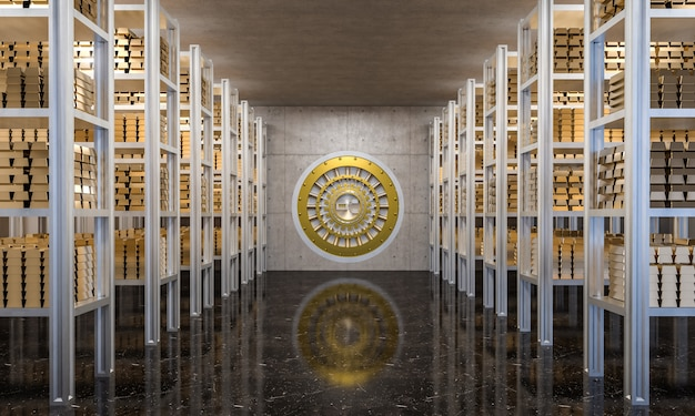 Lingote de ouro no cofre de banco Foto Premium