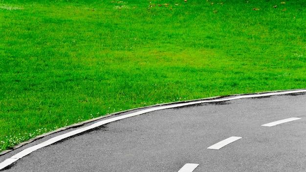 Linha branca, curva, asfalto, estrada, fundo Foto Premium