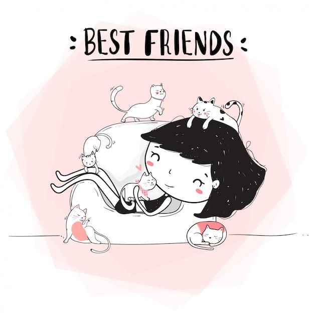 Linha de desenho bonito garota feliz abraço gatos no sofá Foto Premium