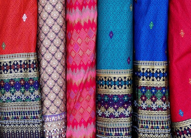 Linha de tecido de seda tailandês background.closeup Foto Premium