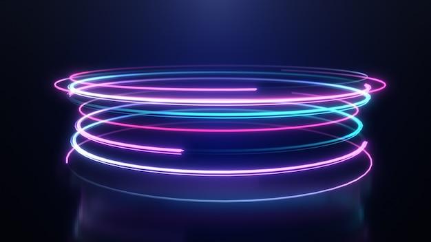 Linhas de listras de luz de neon abstrata movimento fundo Foto Premium