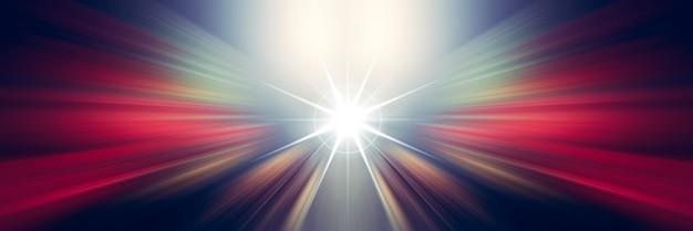 Linhas de luz brancas e vermelhas dinâmicas. luz do ponto central. Foto Premium