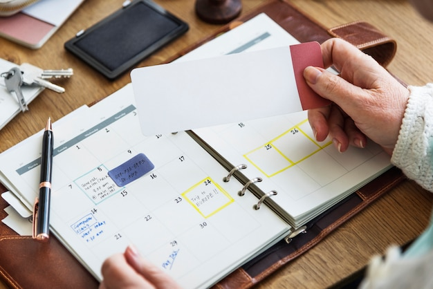 Lista de verificação da nomeação que planeja o conceito pessoal do organizador Foto Premium