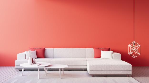 Living coral interior / cor do ano para festivo e valentine Foto Premium