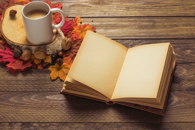 Livro e café perto de nozes e folhas Foto gratuita