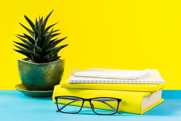 Livros de professor de óculos; letras de madeira e um pote de suculentas na mesa; no fundo de um papel azul. o conceito do dia do professor. copie o espaço. Foto Premium