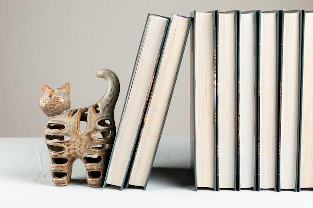 Livros de vista frontal com suporte de gato Foto gratuita