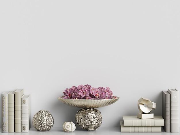 Livros e vasos de maquete em renderização 3d interior Foto Premium