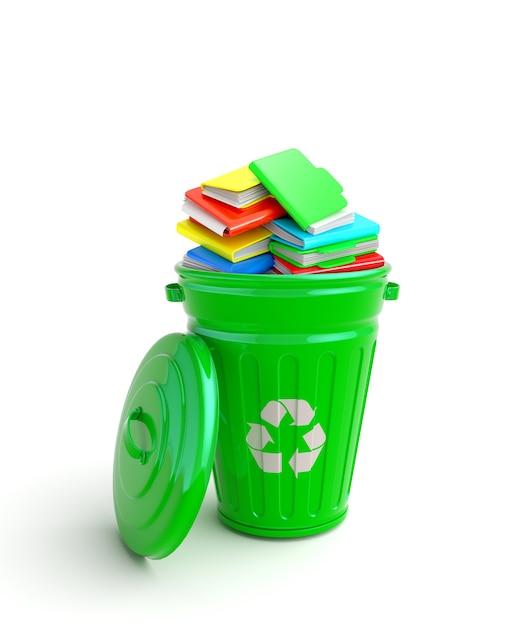 Lixeira verde com cadernos Foto Premium