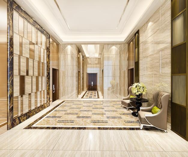 Lobby luxuoso com poltrona perto do corredor Foto Premium