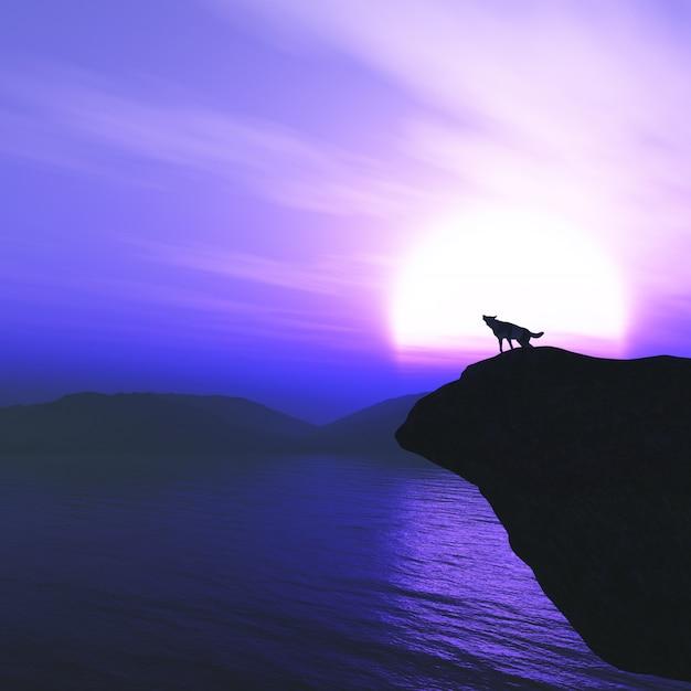 Lobo 3d em um penhasco uivando contra um céu pôr do sol Foto Premium