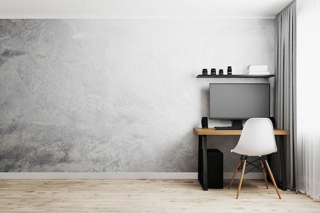 Local de trabalho com pc na mesa de madeira com cadeira moderna branca, parede cinza vazia com piso de madeira, conceito de trabalho em casa, renderização 3d Foto Premium