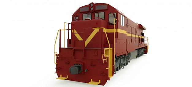 Locomotiva a diesel moderna com grande potência e força para mover trem ferroviário longo e pesado Foto Premium