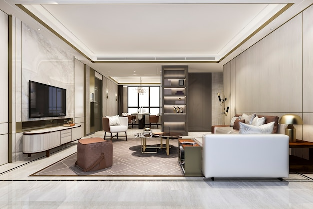 Loft luxuoso sala de estar com estante perto da mesa de jantar Foto gratuita