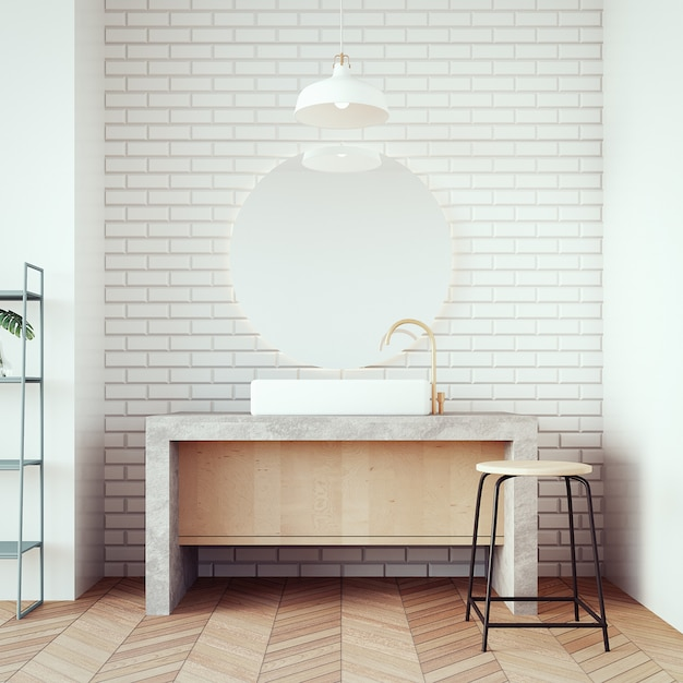 Loft & modern bacia banheiro / 3d render interior Foto Premium