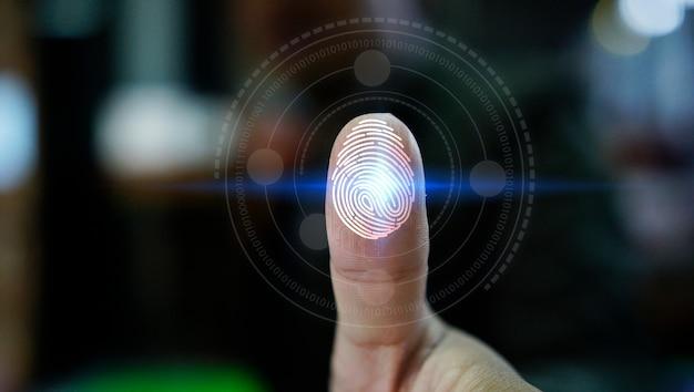 Login de empresário com tecnologia de digitalização de impressão digital. impressão digital para identificar pessoal, sistema de segurança Foto Premium