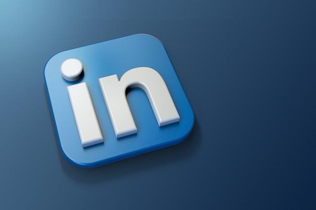 Logotipo 3d do linkedin minimalista com espaço em branco Foto Premium