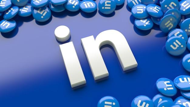 Logotipo 3d do linkedin sobre um fundo azul cercado por vários comprimidos brilhantes do linkedin Foto Premium