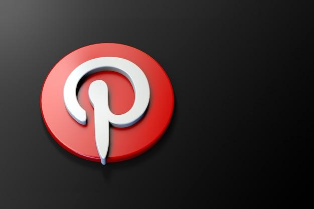 Logotipo 3d do pinterest minimalista com espaço em branco Foto Premium