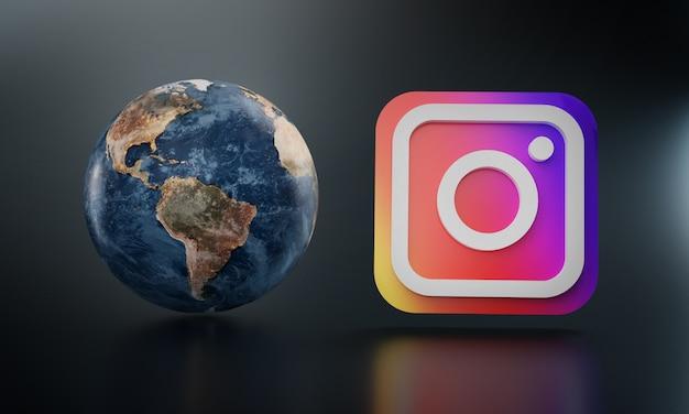 Logotipo do instagram ao lado da terra rende. Foto Premium