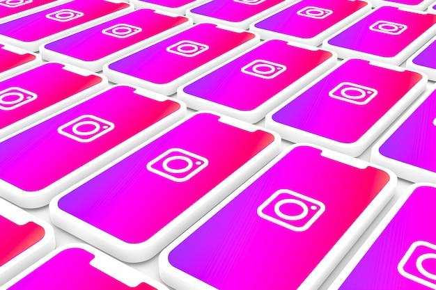 Logotipo do instagram fundo na tela smartphone ou render 3d móvel Foto Premium