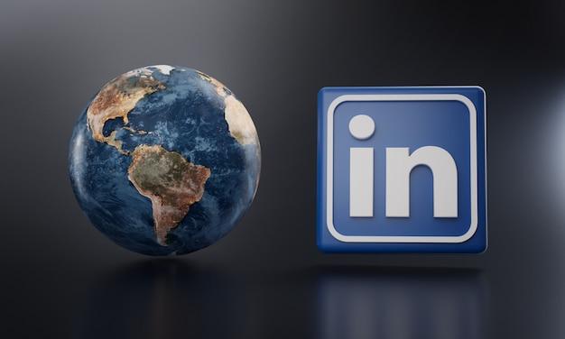 Logotipo do linkedin ao lado da renderização 3d da terra. Foto Premium
