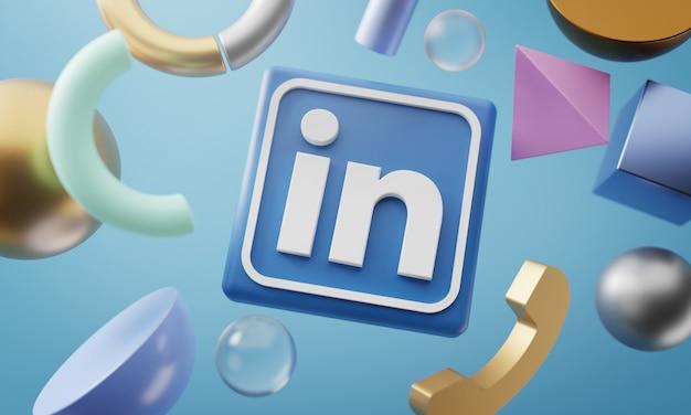 Logotipo do linkedin em torno de renderização 3d em forma abstrata de fundo Foto Premium