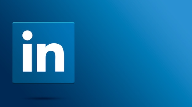Logotipo do linkedin na plataforma 3d Foto Premium