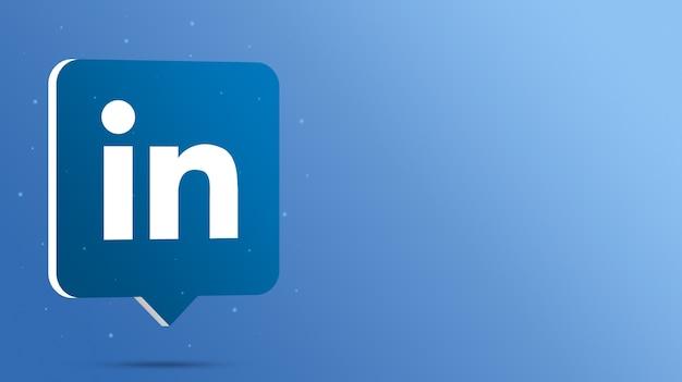 Logotipo do linkedin no balão de fala 3d Foto Premium