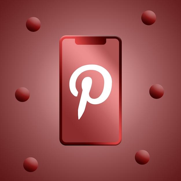 Logotipo do pinterest na renderização 3d da tela do telefone Foto Premium