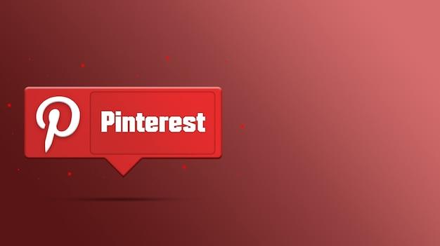 Logotipo do pinterest na renderização 3d do balão de fala Foto Premium