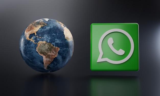 Logotipo do whatsapp ao lado da renderização 3d da terra. Foto Premium